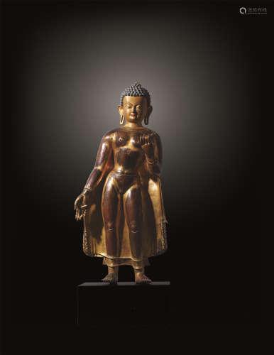 17世纪 马拉风格铜鎏金佛陀立像