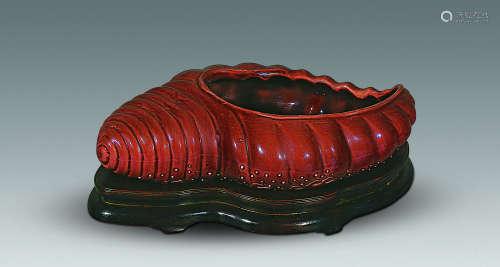 清 茄紫海螺水盂