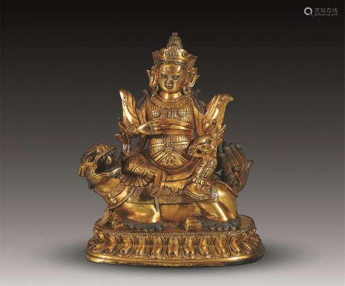 18世纪 铜鎏金财宝天王