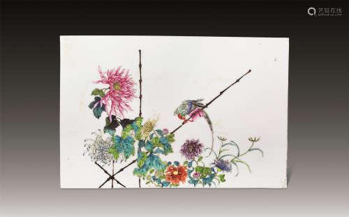 民国 粉彩秋菊鹦鹉瓷板