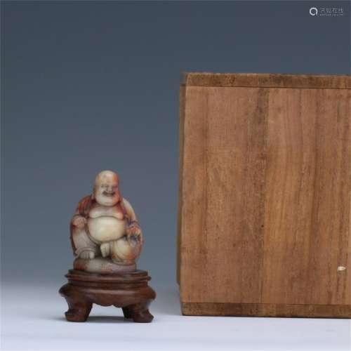 CHINESE SOAPSTONE SEATED BUDDHA