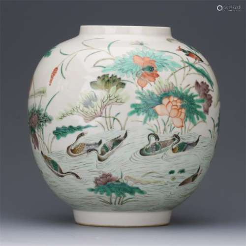 CHINESE PORCELAIN FAMILLE ROSE DUCK AND LOTUS LIGHTER SHADE