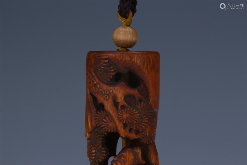 CHINESE BAMBOO CARVED FIGURE INCENSE CAGE