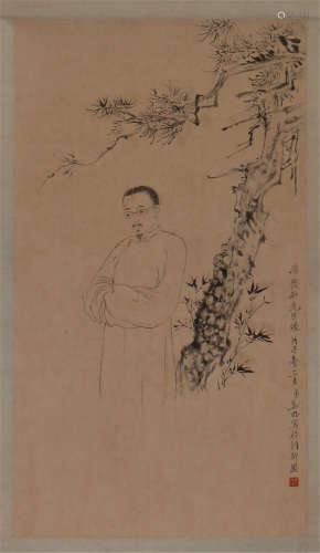 CHINESE SCROLL PAINTING OF FIGURE UNDER TREE