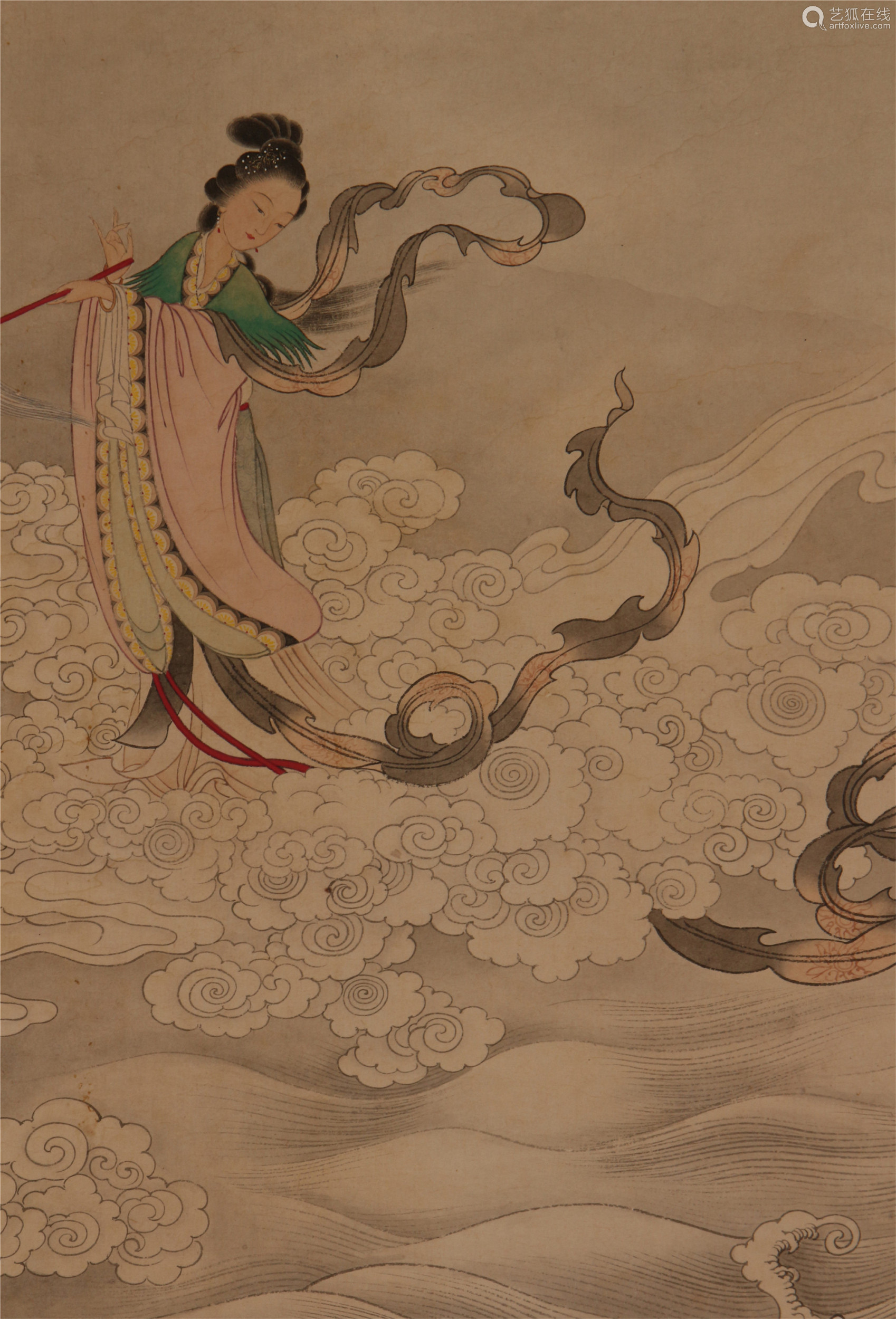 CHINESE SCROLL PAINTING OF FIGURES ON OCEAN
