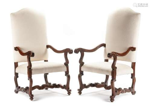 A Pair of Louis XIV Style Walnut Armchairs Height 48