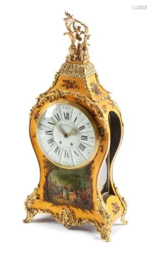 A Regence Style Vernis Martin Decorated Bracket Clock
