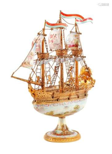 An Austrian Enameled Gilt Metal Model of a Ship, ,
