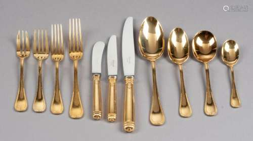 A French Gilt Silver-Plate Flatware Service,