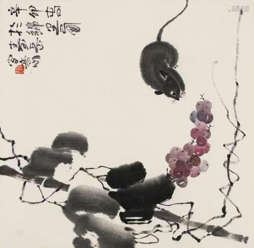 2011年作 陈寿岳 老鼠葡萄 镜心 纸本