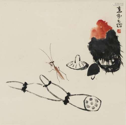 2011年作 陈寿岳 蔬果螳螂 镜心 纸本