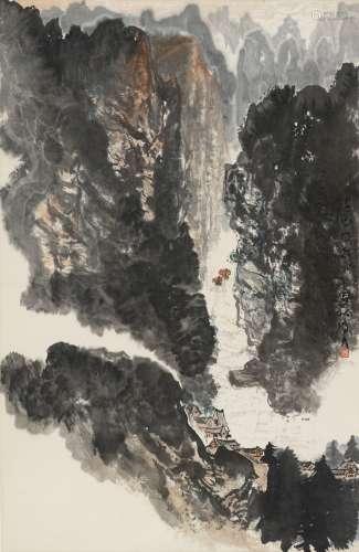 1976年作 李琼久 山水 立轴 纸本