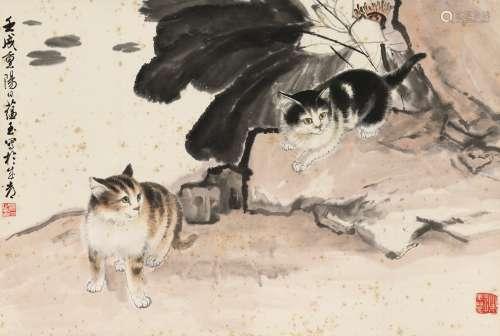 1982年作 赵蕴玉 双猫 立轴 纸本