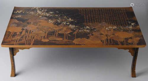 A-17 金莳绘梨地汉诗莲花纹长方桌