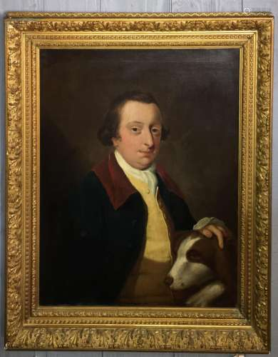 18th Century Oil On Canvas Of Man And Dog