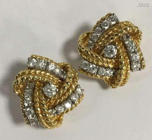 Pair Of 18k Gold Verdura Diamond Earrings