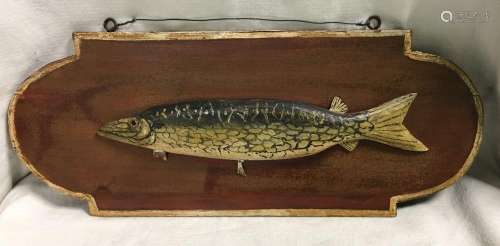 Folk Art Michigan Pike Fish Plaque