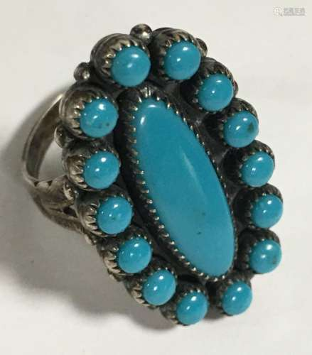 Native American Indian Turquoise & Sterling Ring