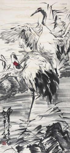 黄胄 双鹤图 纸本立轴