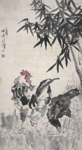 徐悲鸿 大吉图 纸本镜片