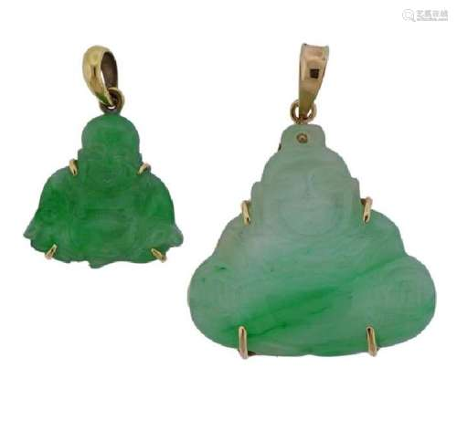 18k Gold Carved Jade Buddha Pendant Lot of 2