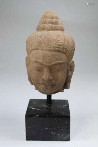 Early Antique Cambodian Carved Sandstone Head