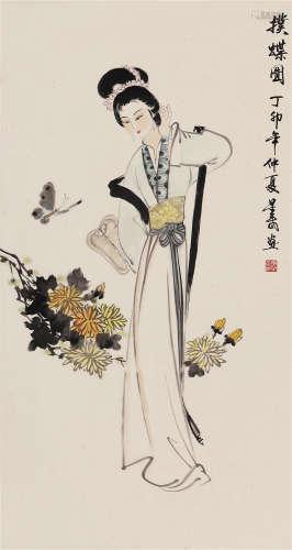 1987 李星武 擈蝶图 设色纸本 立轴