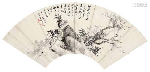 1941 吴子深 竹石图 水墨纸本 镜片