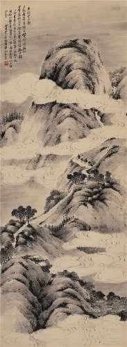 1927 李石君 平明登日观 水墨纸本 立轴