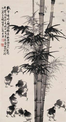 1995 刁治民 竹鸡图 水墨纸本 镜片