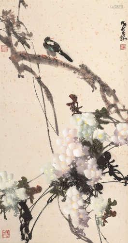 熊世森 紫藤小鸟 设色纸本 立轴