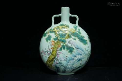 A Famille Rose Porcelain Moonflask