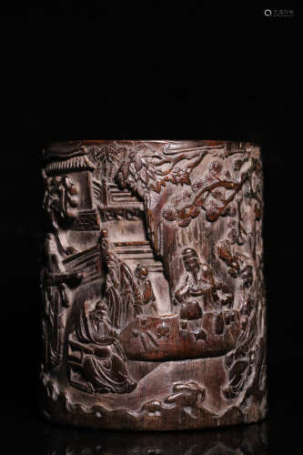 17-19TH CENTURY, A STORY DESIGN AGILAWOOD BRUSH POT, QING DYNASTY