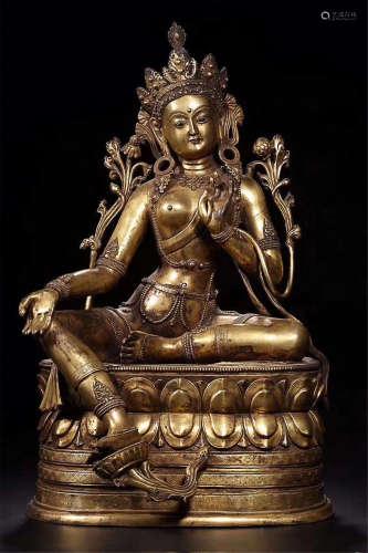A GILT BRONZE WOMEN BUDDHA STATUE