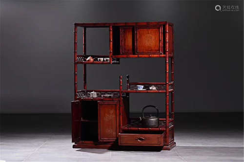 A RED PAINT BAMBOO CABINET