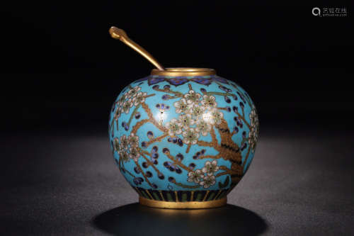 17-19TH CENTURY, A PLUM&POEM PATTERN CLOISONNE WATERPOT, QING DYNASTY
