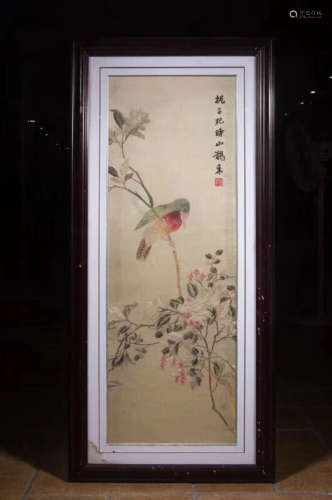 A HAND MADE BIRD&FLORAL PATTERN EMBROIDERY
