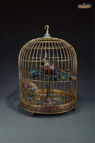 17-19TH CENTURY, A BRONZE&CLISONNE BIRDCAGE, QING DYNASTY