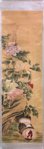 17-19TH CENTURY, UNKOWN <PEONY & CHICKEN> PAINTING, QING DYNASTY