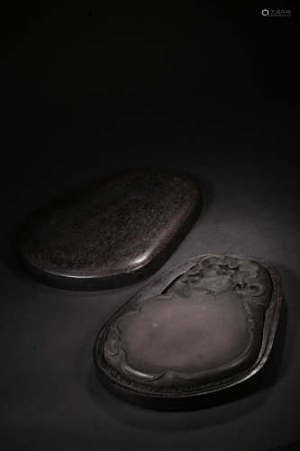 17-19TH CENTURY, A LOTUS&TURTLE PATTERN INKSTONE, QING DYNASTY