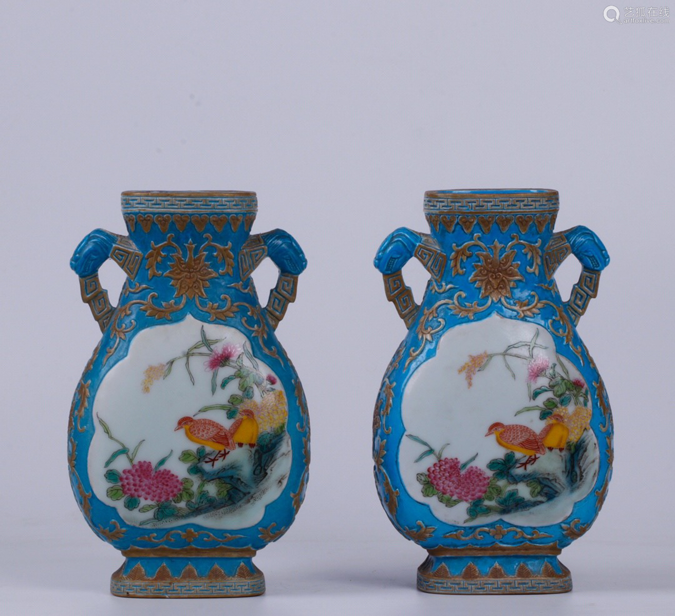 A PAIR OF FALANG GLAZED DOUBLE-EAR FLAT BOTTLES