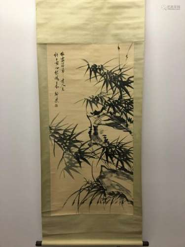 Chinese Hanging Scroll of Bamboo