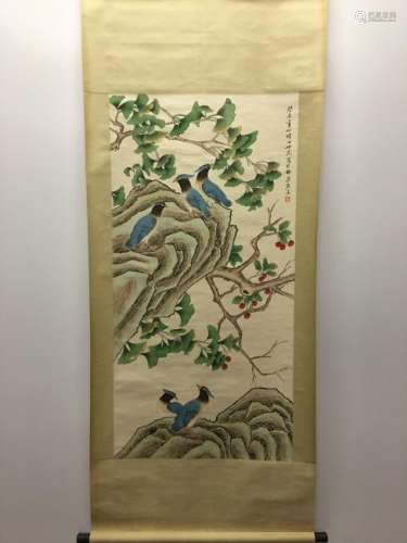 Chinese Hanging Scroll Of Bird and Flower