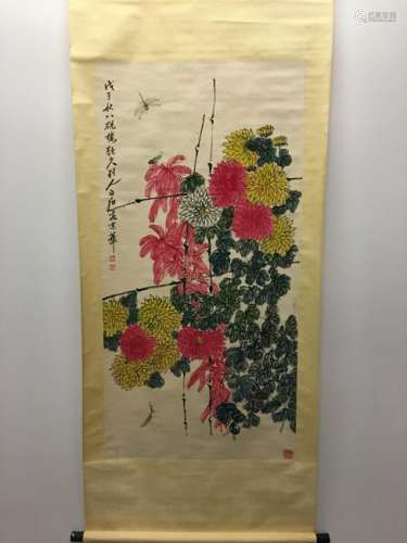 Chinese Hanging Scroll Of Flower
