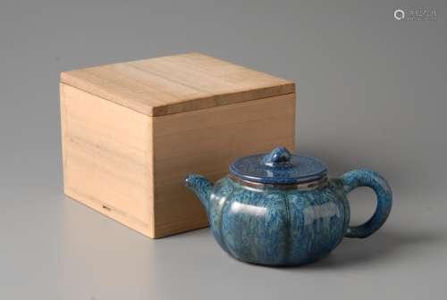 2-A6 葛明祥蓝釉茶壶
