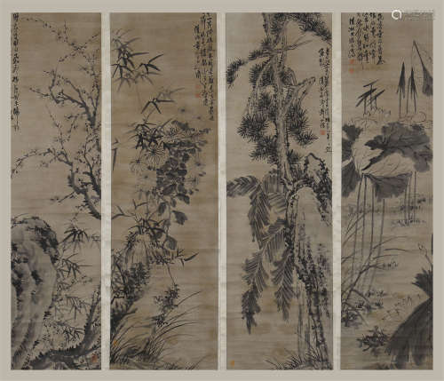 FOUR PANEL OF CHINESE SCROLL PAINTING OF ROCK AND FLOWER