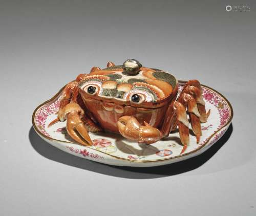 A RARE CHINESE EXPORT CRAB-FORM TUREEN AND COVER, QING DYNASTY, QIANLONG PERIOD