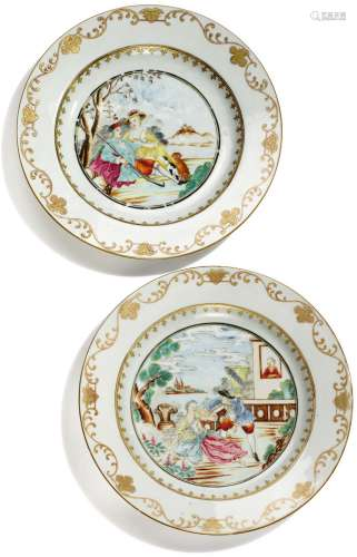 TWO CHINESE EXPORT PORCELAIN EUROPEAN SUBJECT PLATES, QING DYNASTY, QIANLONG PERIOD, CIRCA 1755