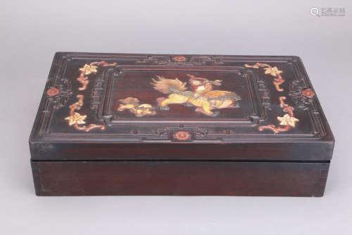 民国 红木嵌宝麒麟纹盖盒