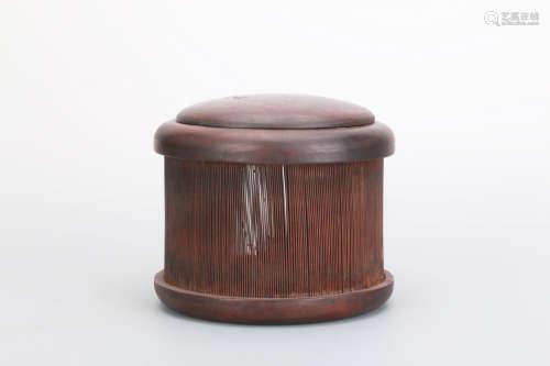清 红木嵌银丝盖蝈蝈笼